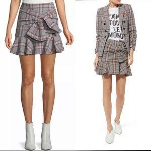 Veronica Beard Picnic Bow Seersucker Plaid Skirt